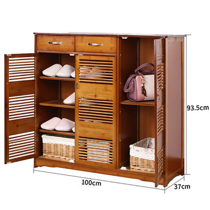 Tủ giày tre cửa chớp phong cách cổ điển