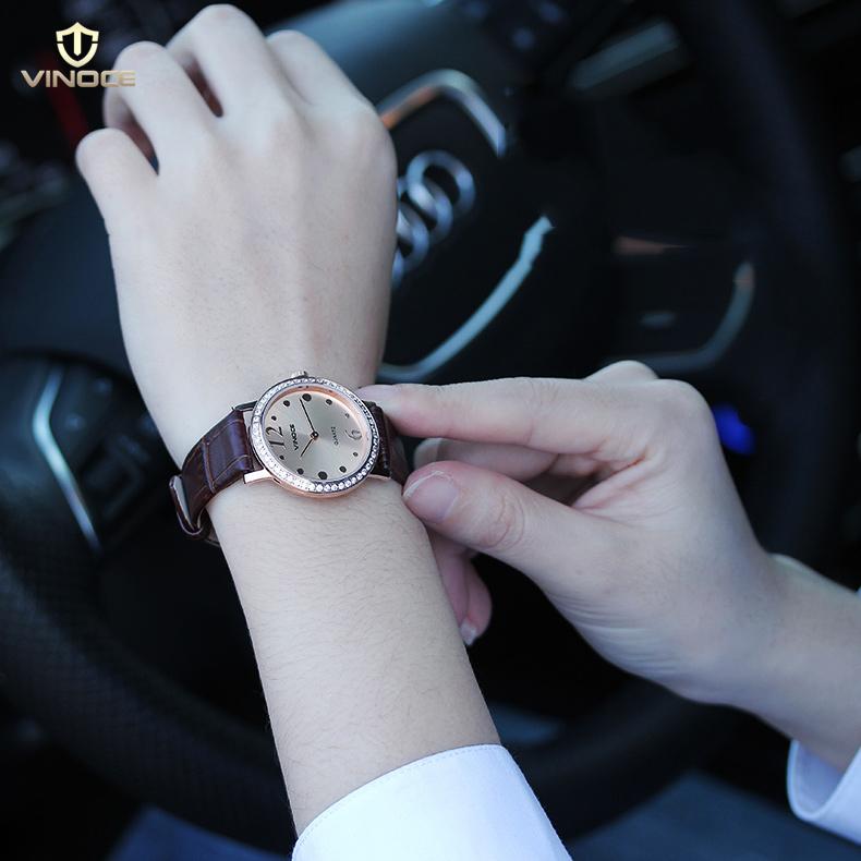 Đồng hồ nữ siêu mỏng Vinoce V8350DM dây da thật