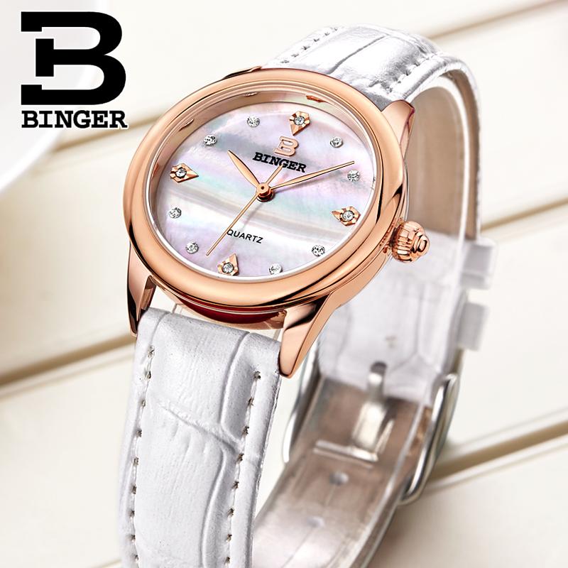 Đồng hồ nữ dây da nạm đá Binger
