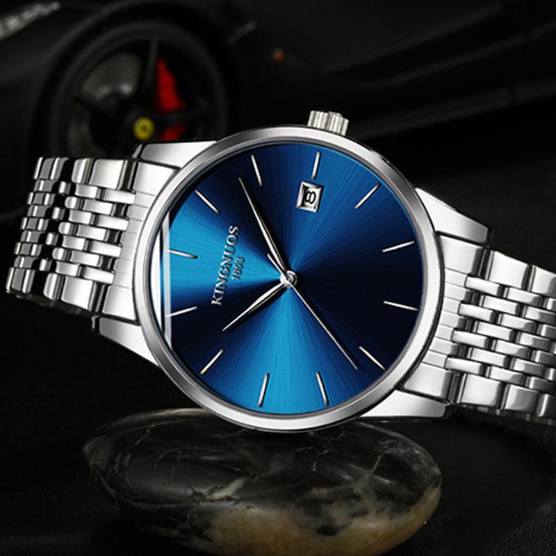 Đồng hồ thép siêu mỏng Kingnuos Blue