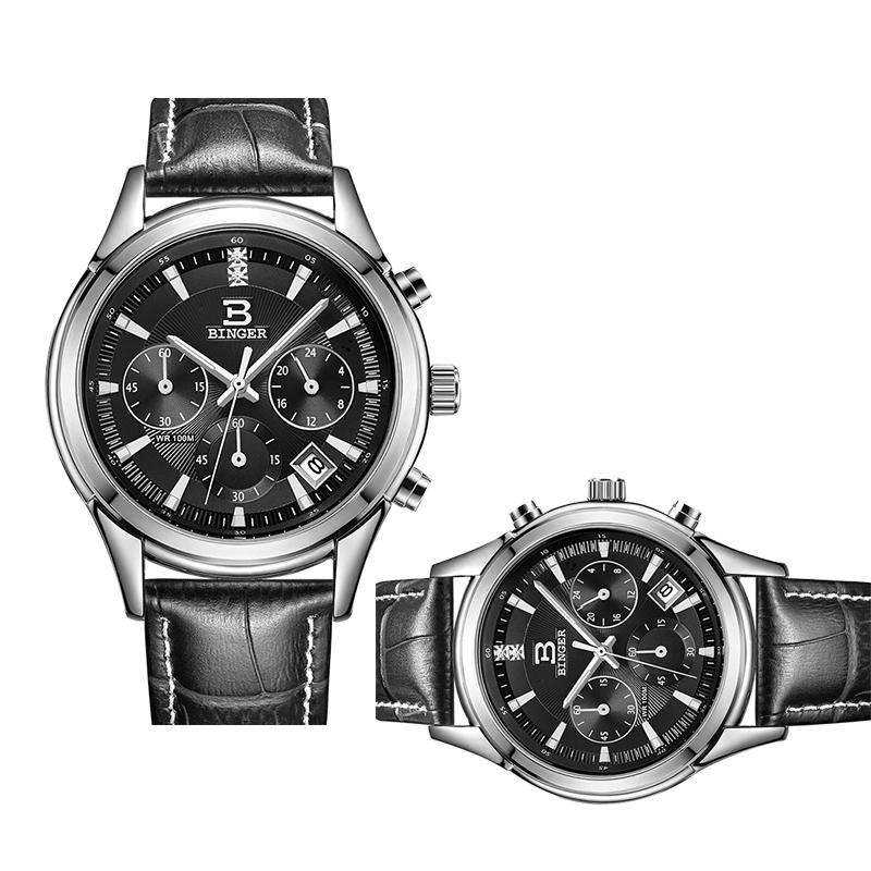 Đồng hồ đôi Chronograph kim dạ quang Binger