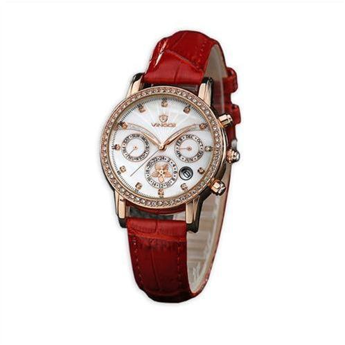Đồng hồ nữ Vinoce V6255 dây da, mặt vỏ trai cá tính