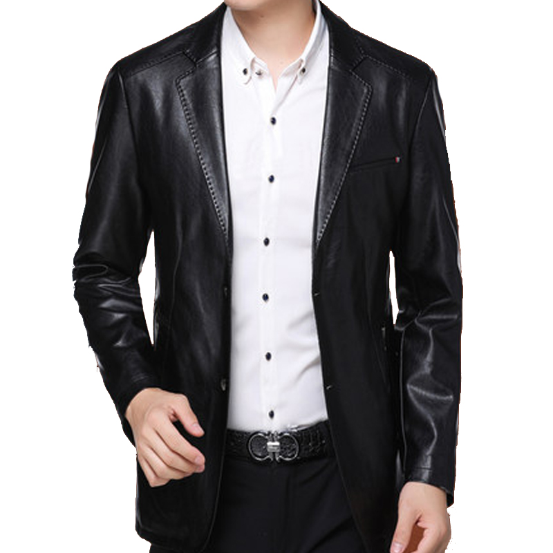 Áo da nam Blazer cổ vest viền chỉ nổi