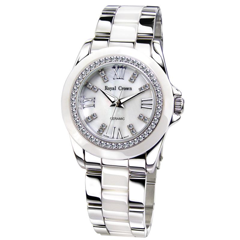 Đồng hồ thời trang nữ dây đeo Ceramic Royal Crown 6412