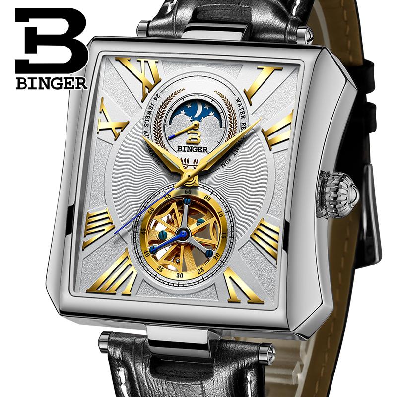 Đồng hồ cơ lộ tim mặt vuông Binger