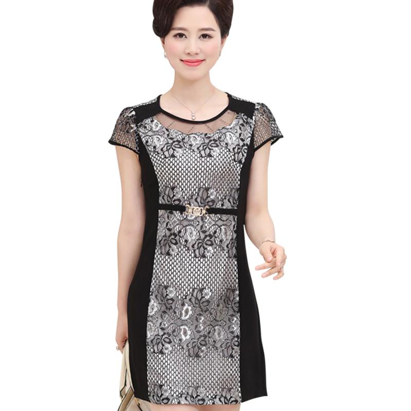 Váy ôm phối ren hoa trung niên SMT
