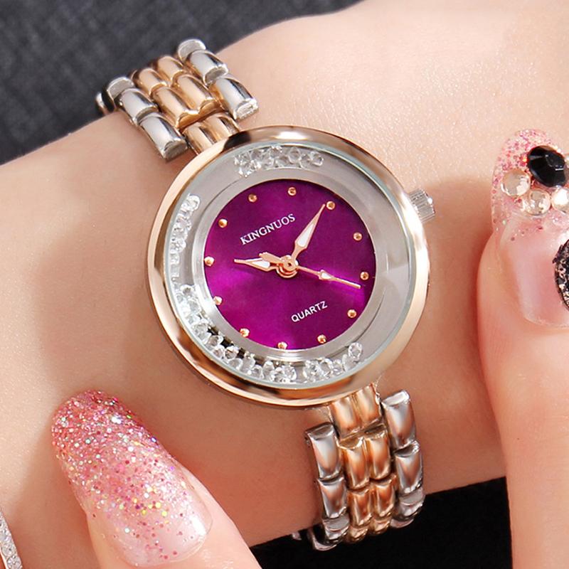 Đồng hồ vòng tay nữ đính đá Kingnuos (Màu tím)