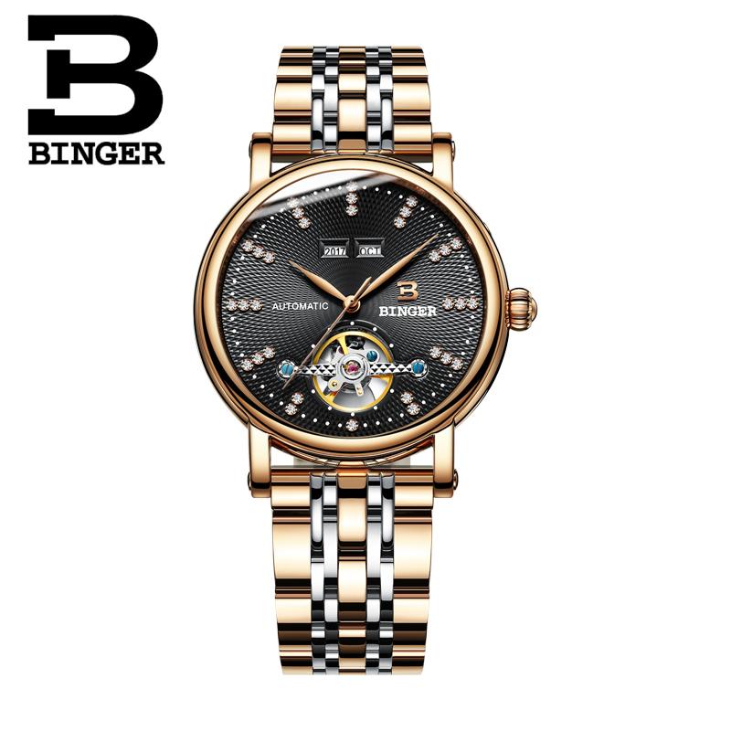 Đồng hồ cơ nam mặt khắc vân 3D Binger