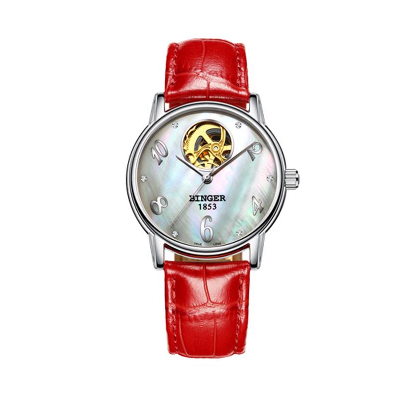 Đồng hồ cơ nữ Open Heart khảm trai Binger