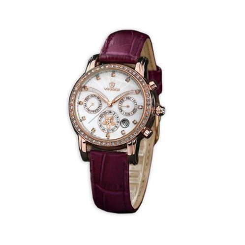 Đồng hồ nữ Vinoce V6255 dây da, mặt vỏ trai tinh xảo