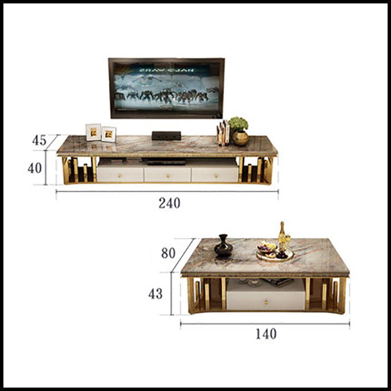 Bộ kệ tivi và bàn trà đá cẩm thạch phong cách hiện đại