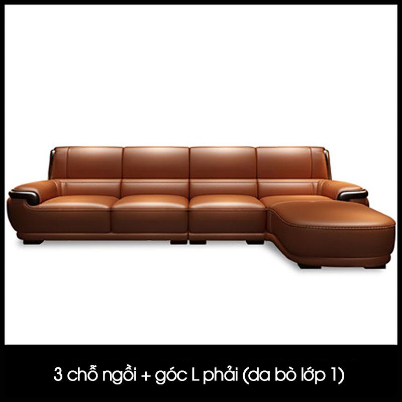 Sofa da trơn nhập khẩu phong cách Bắc Âu