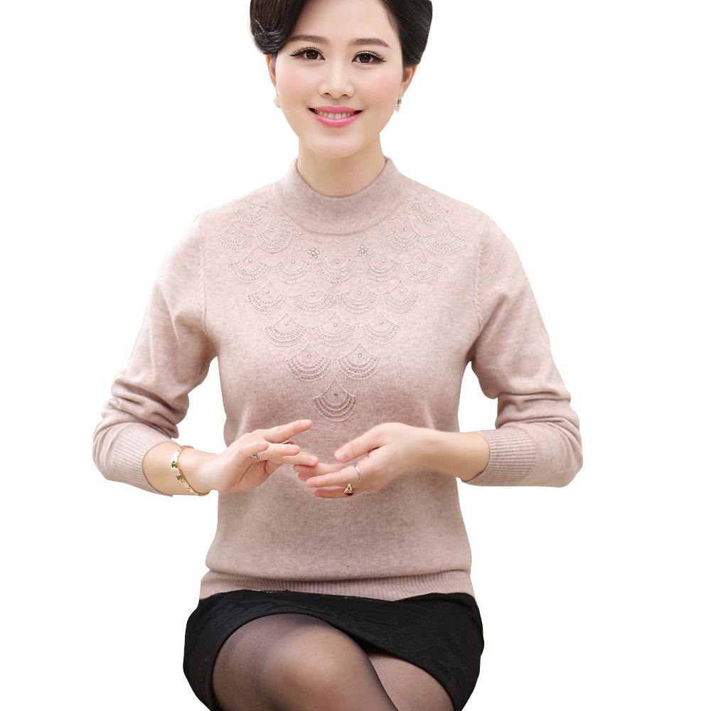 Áo len nữ dài tay cổ lọ dệt kim đính đá lượn sóng SMT