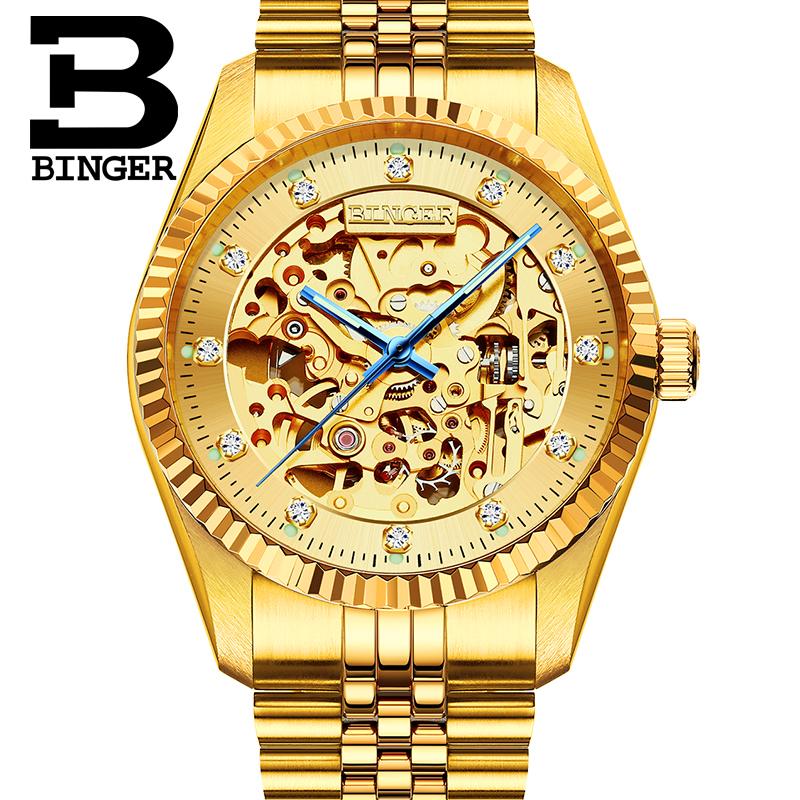 Đồng hồ cơ nam nguyên khối Binger chạm rỗng