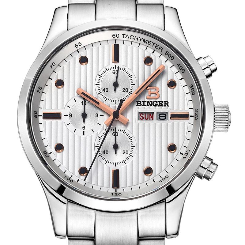 Đồng hồ nam Chronograph 6 kim Tachymeter Binger