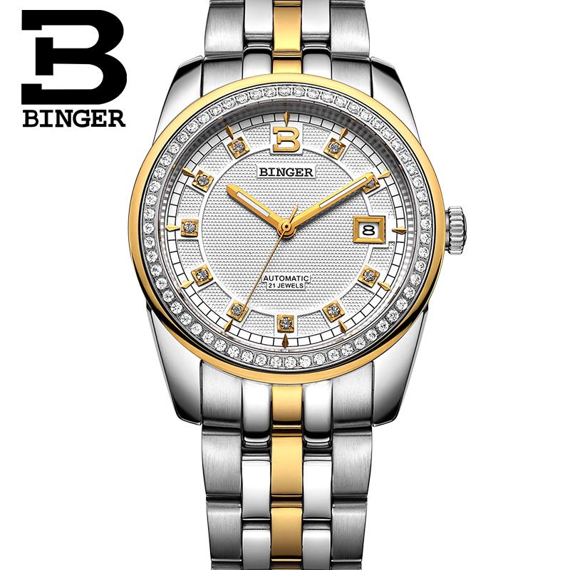 Đồng hồ cơ nam mốc giờ chạm đá Binger