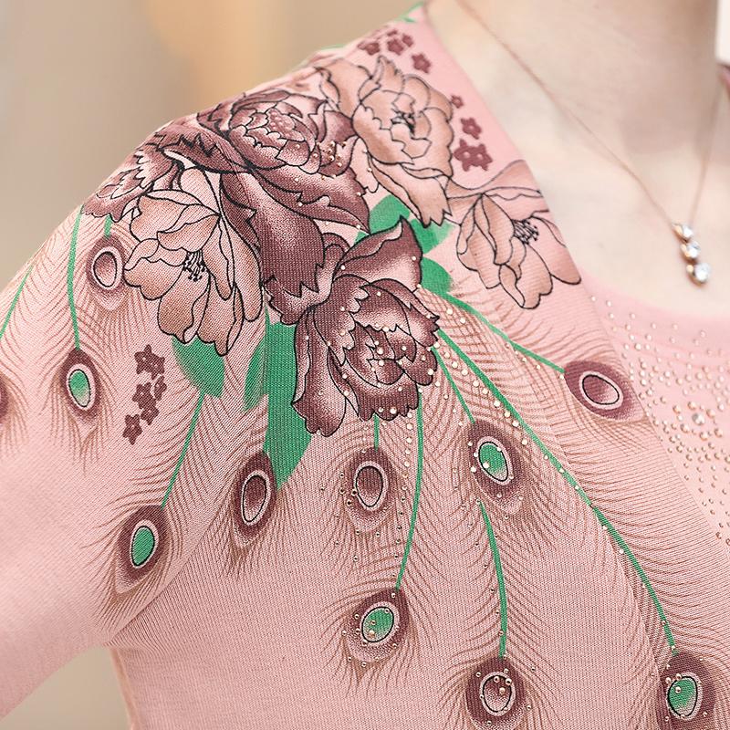 Bộ áo len nữ in hoa mẫu đơn đính đá SMT
