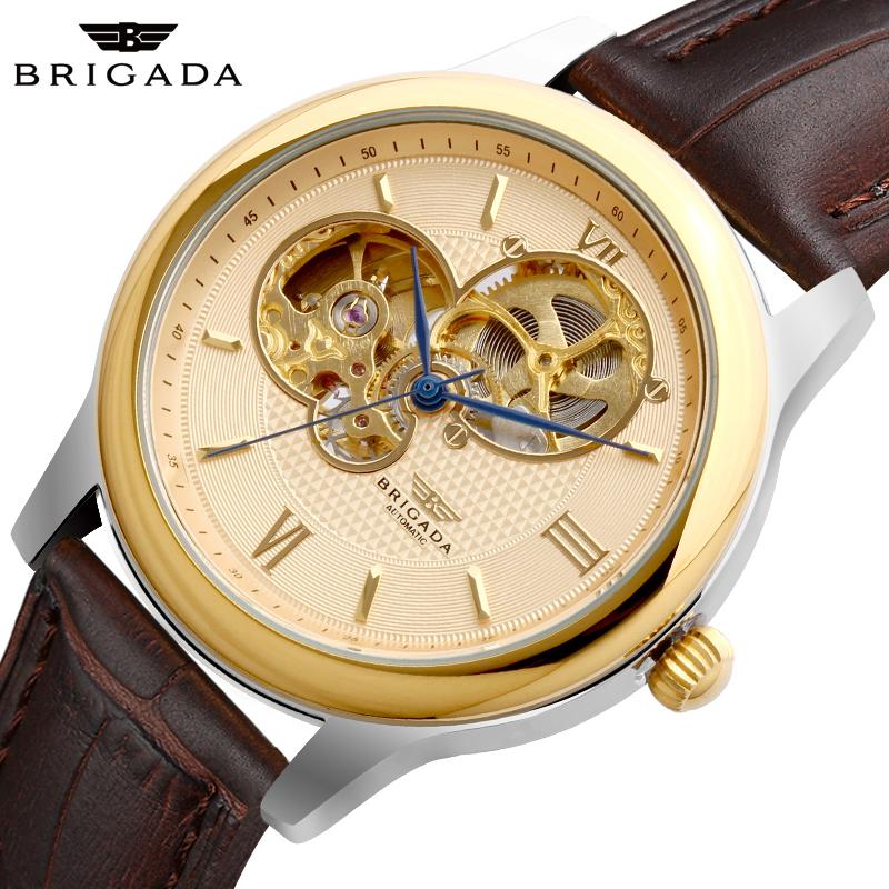 Đồng hồ nam mặt khắc vân Brigada 6006