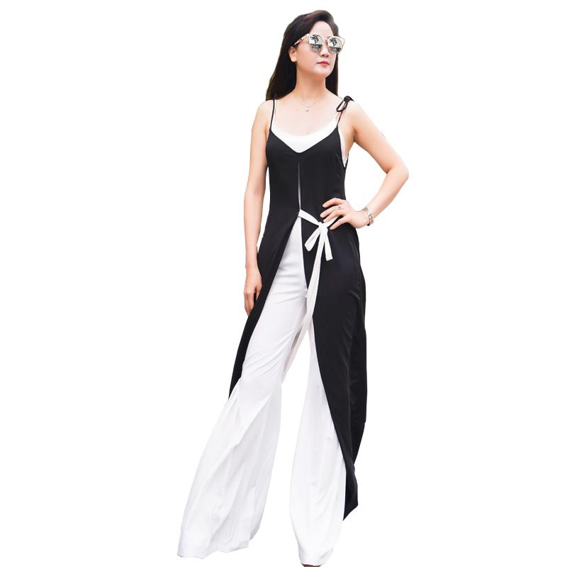 Jumpsuit ống rộng kèm áo choàng 2 dây thắt đai