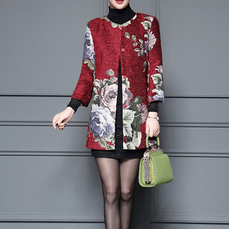 Áo khoác nữ tay lỡ họa tiết hoa mẫu đơn