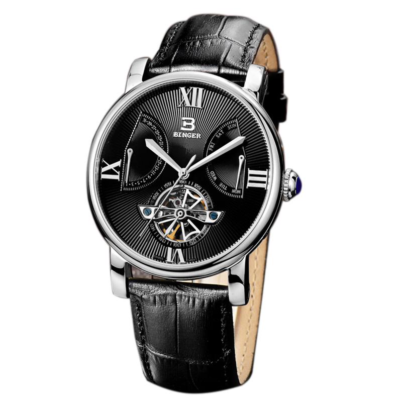 Đồng hồ cơ lộ máy Skeleton vân rẻ quạt Binger