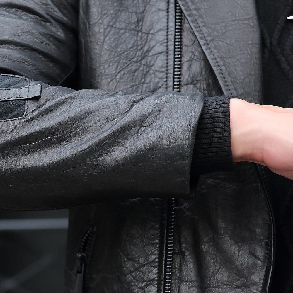 Áo Jacket nam da cừu cổ bẻ kiểu vest dáng ngắn túi khóa kéo mới