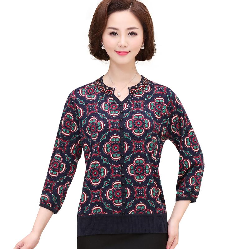 Áo len nữ trung niên dệt hoa SMT