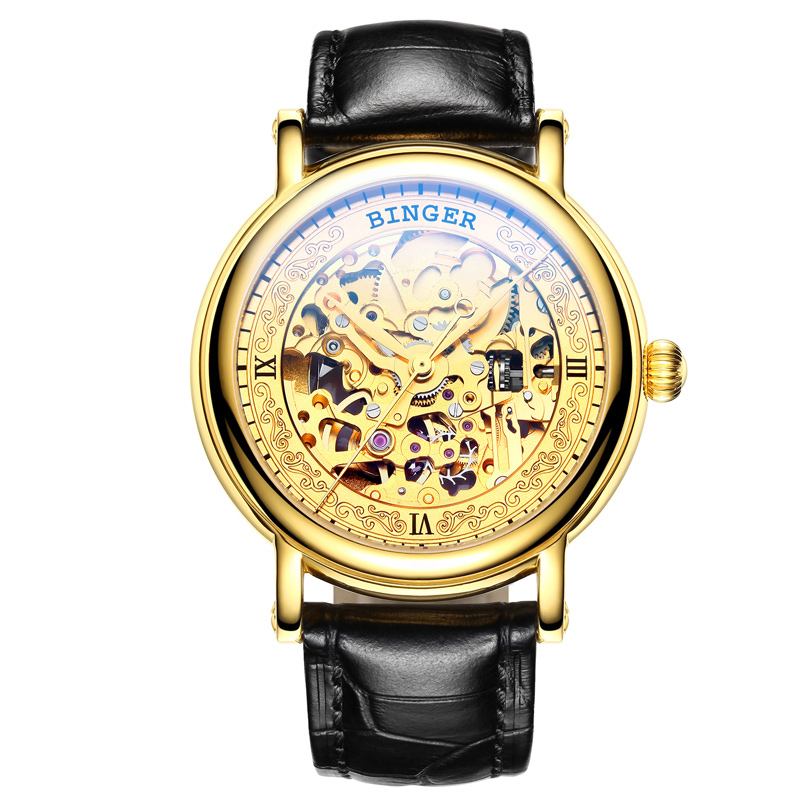 Đồng hồ nam chạm rỗng lộ cơ Binger