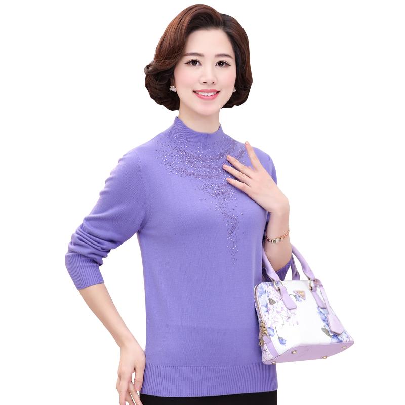 Áo len nữ dài tay cổ lọ dệt kim đính đá hạt SMT