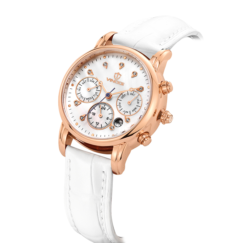 Đồng hồ nữ 6 kim nạm đá pha lê Vinoce