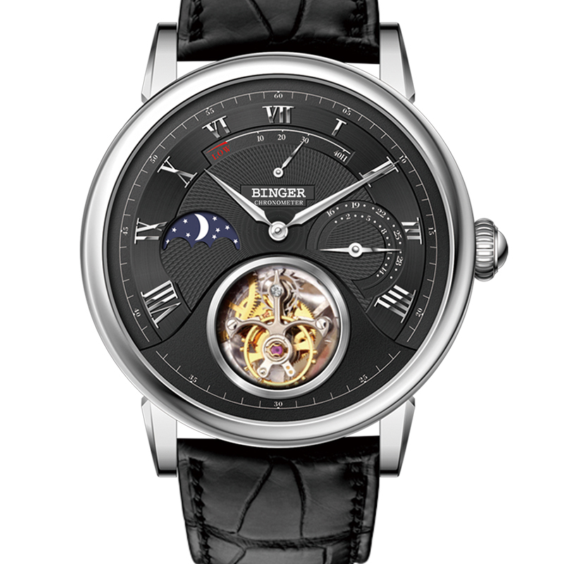 Đồng hồ cơ nam Tourbillon Moonphase Binger