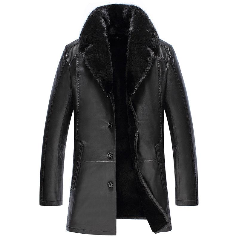 Áo khoác da cừu cổ vest lông hải ly SinBos