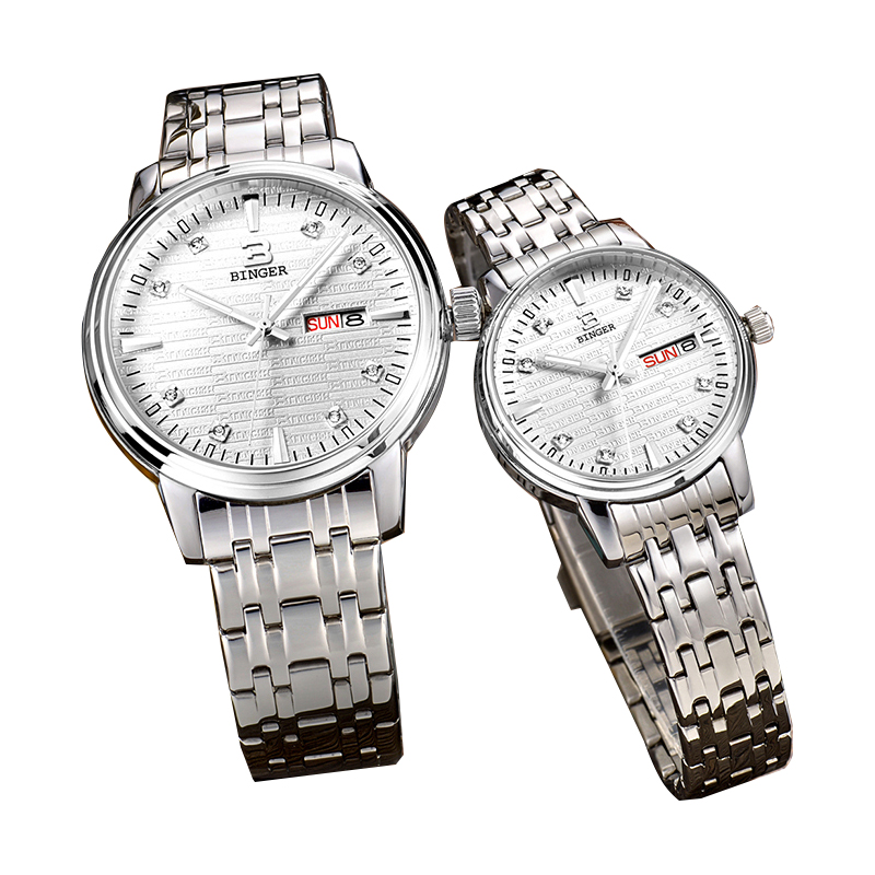 Đồng hồ đôi mặt chữ Binger đính đá