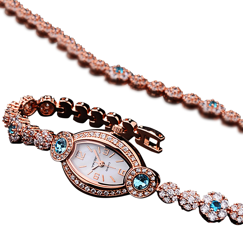 Đồng hồ lắc tay mặt oval đính đá Vinoce
