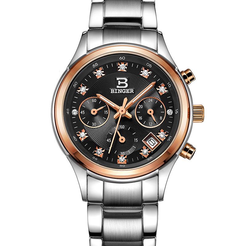 Đồng hồ Chronograph nữ kim dạ quang Binger