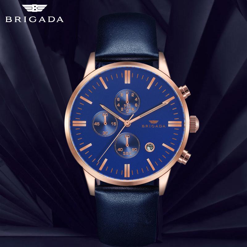 Đồng hồ nam dây da Brigada 3017
