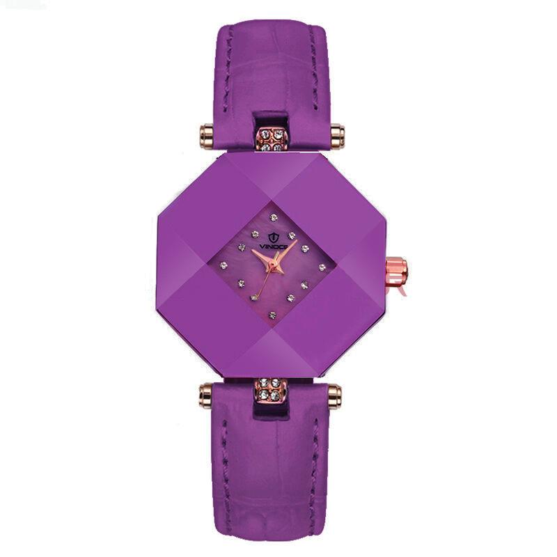 Đồng hồ nữ ceramic mặt bát giác Vinoce