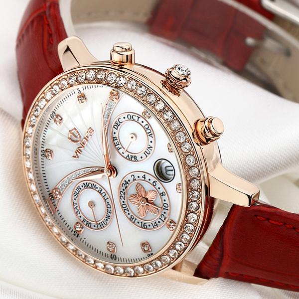 Đồng hồ nữ Vinoce V6255 dây da, mặt vỏ trai tự nhiên