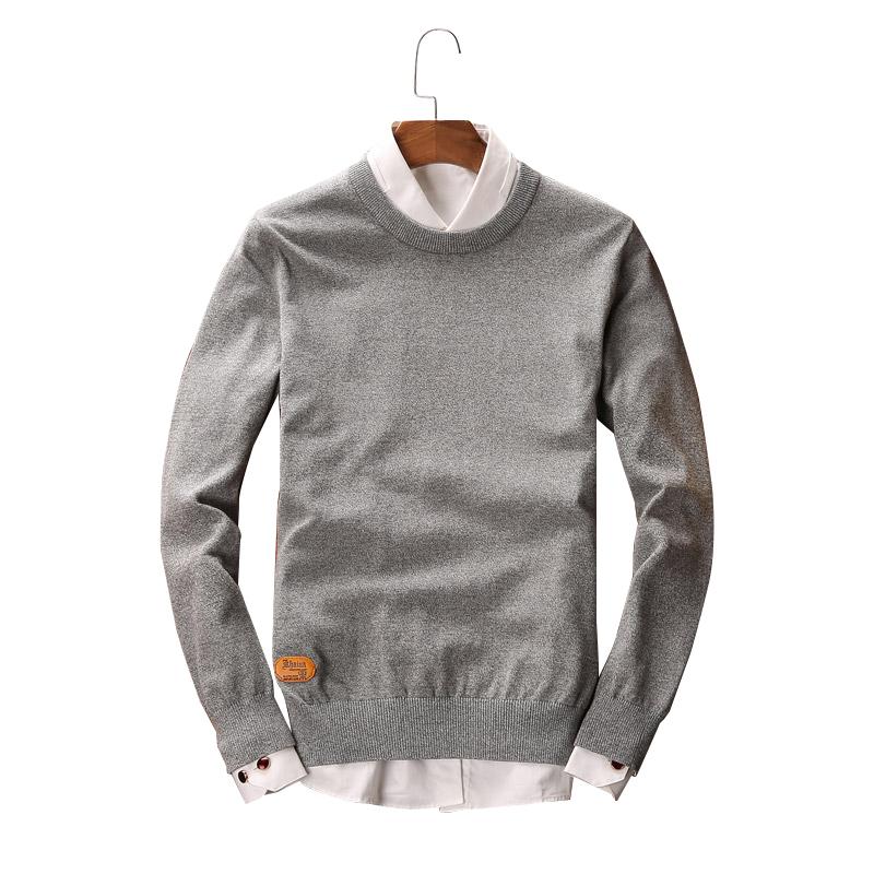 Áo len nam dài tay GF cổ tròn trơn màu