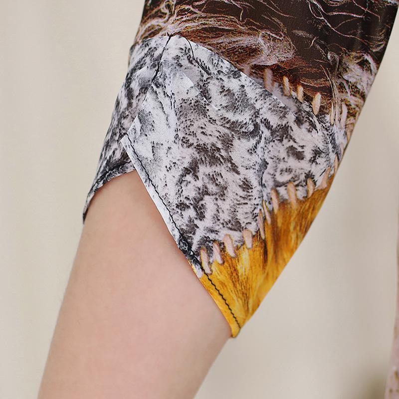 Áo suông 2 tầng vạt giả họa tiết da báo PZYF