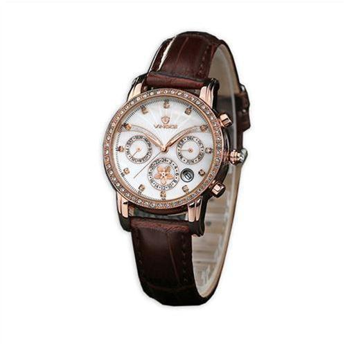 Đồng hồ nữ Vinoce V6255 dây da mặt ngọc trai mới