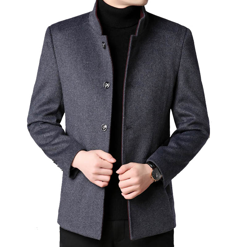 Áo khoác dạ lông cừu cổ đứng đa năng