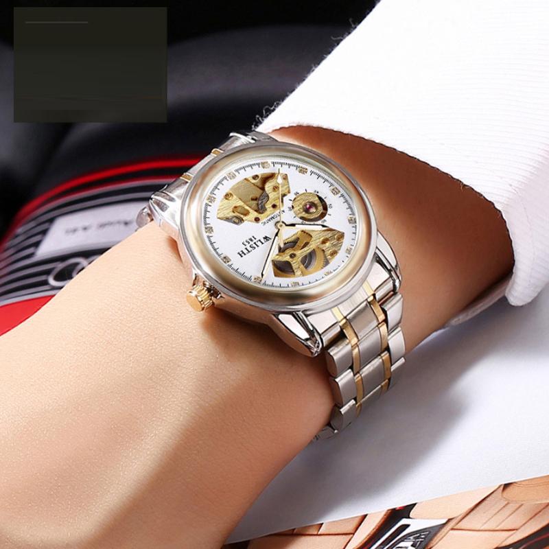 Đồng hồ cơ nam chạm rỗng hình quạt Wlisth