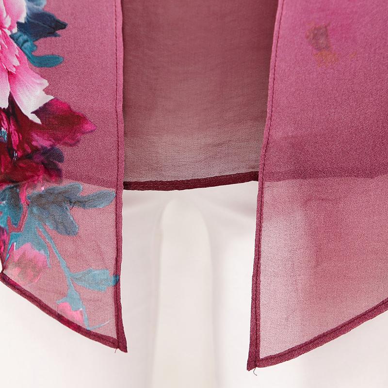 Áo chiffon tay lỡ in hoa mẫu đơn 2 trong 1 SMT