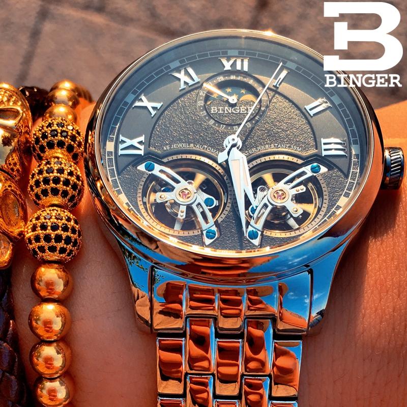 Đồng hồ cơ automatic lộ máy cho nam Binger