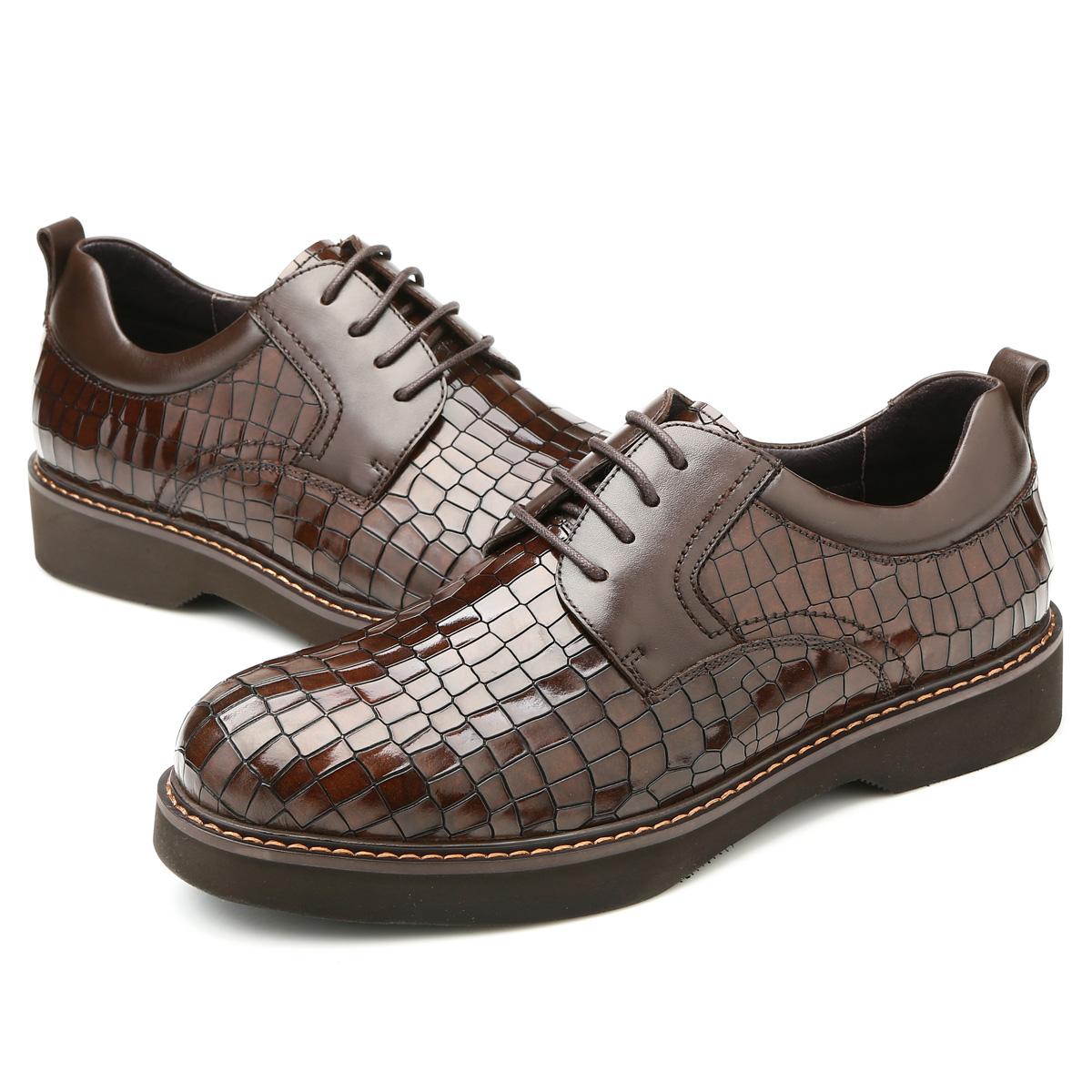 Giày da nam Olunpo QHB1403 vân cá sấu