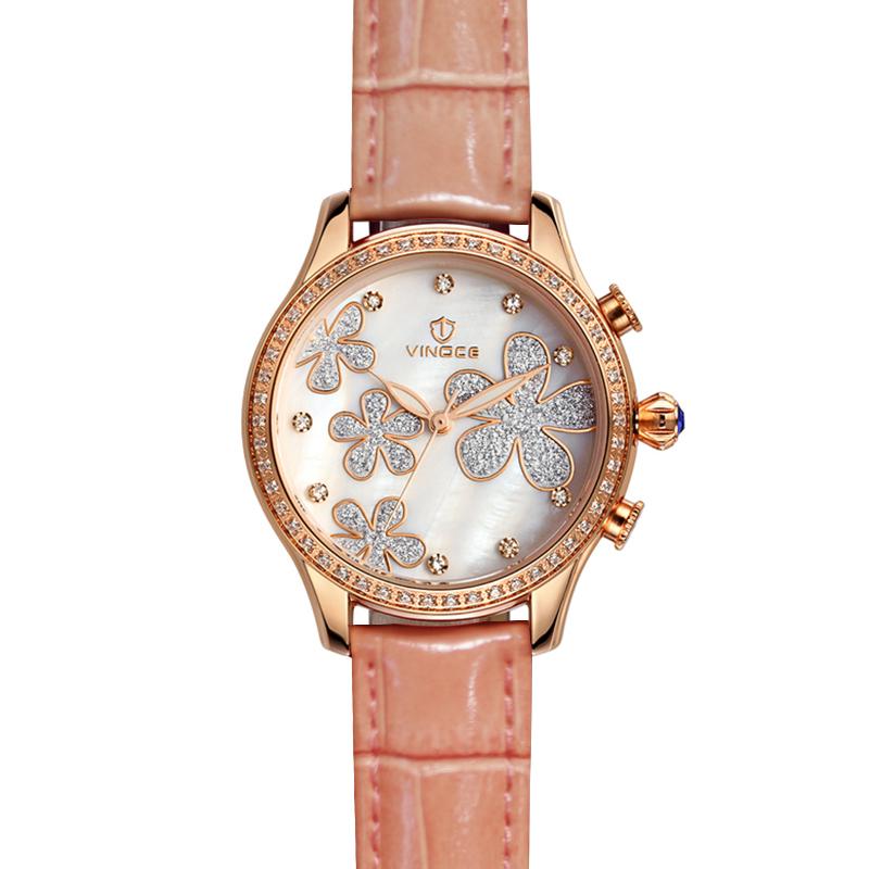 Đồng hồ nữ mặt in hoa Vinoce V6386L