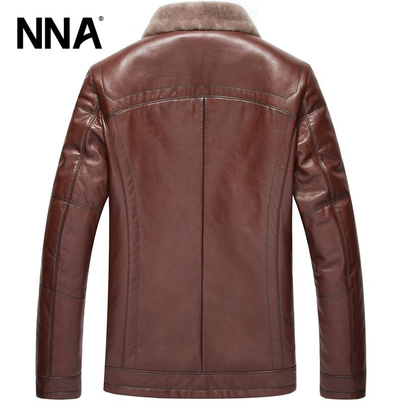 Áo Jacket nam da cừu cổ lông lót lông vũ NNA