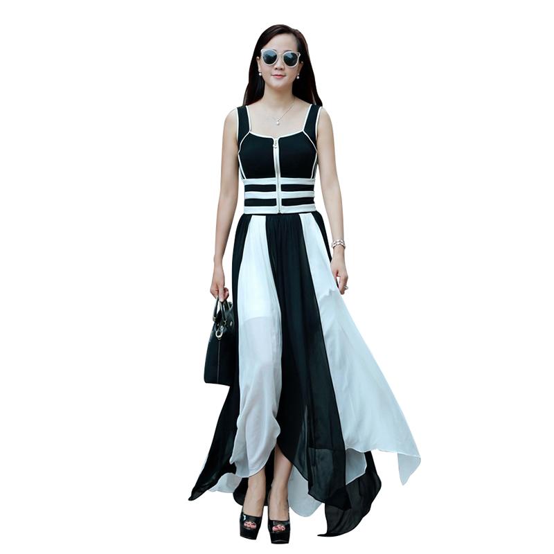 Đầm Sexy Sling sọc đen trắng xẻ vạt rời