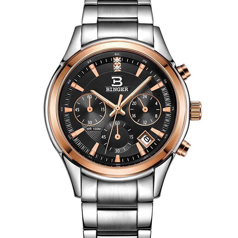 Đồng hồ Chronograph nam kim dạ quang Binger